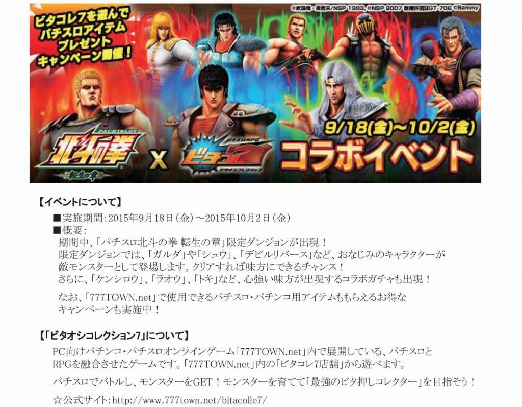【PC】ビタコレ7_パチスロ北斗の拳転生の章コラボイベント_プレスリリース-001